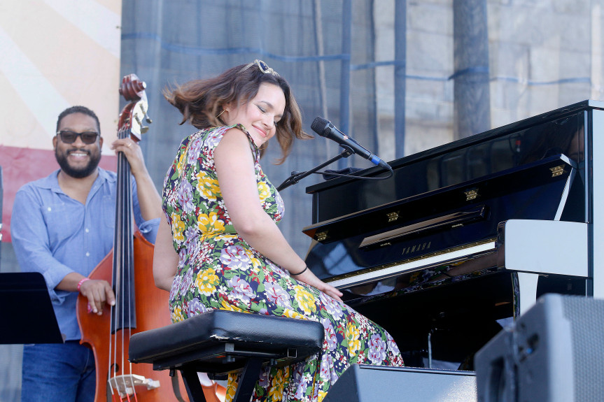 Norah Jones performs during the Newport Jazz Festival, Saturday, July 30, 2016, in Newport, R.I. (Philip Sherman/The Daily News via AP)