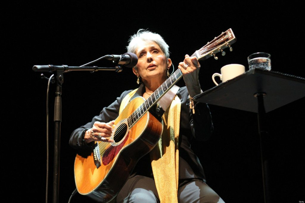 LONDON, UNITED KINGDOM - MARCH 16: Joan Baez performs on stage at the Royal Festival Hall on March 16, 2012 in London, United Kingdom. (Photo by Roberta Parkin/Redferns via Getty Images)