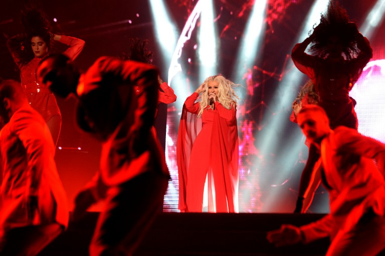 "USA singer Christina Aguilera performs during the World Music Festival ""Mawazine"" in Rabat on May 28, 2016. / AFP PHOTO / FADEL SENNA"